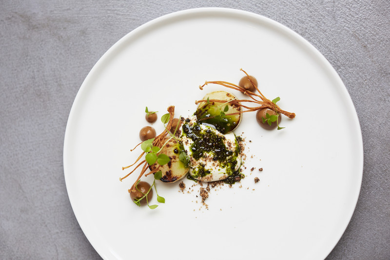 Salt-baked celeriac with enoki mushroom and whey